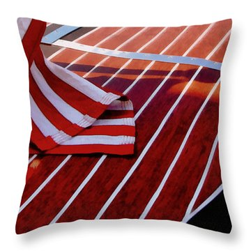 Chris Craft With American Flag Throw Pillow