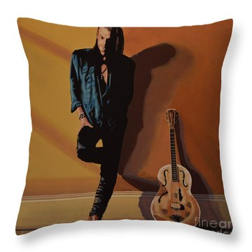 Chris Whitley Throw Pillow by Paul Meijering