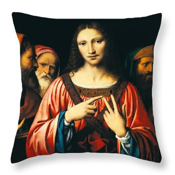 Christ Among The Doctors Throw Pillow by Bernardino Luini