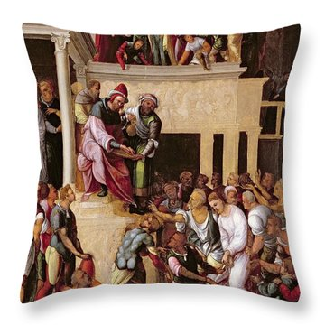 Christ Before Pilate, C.1530 Throw Pillow by Lodovico Mazzolino