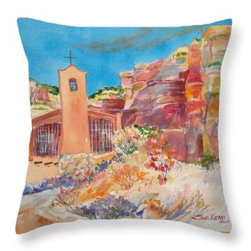 Christ In The Desert Monastery Throw Pillow by Sue Kemp