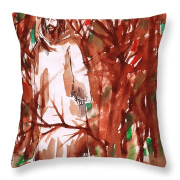 Christ In The Forest Throw Pillow