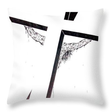 Christ On Cross Throw Pillow by Justin Moore