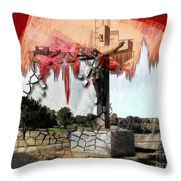 Christ On The Cross Throw Pillow by Liane Wright