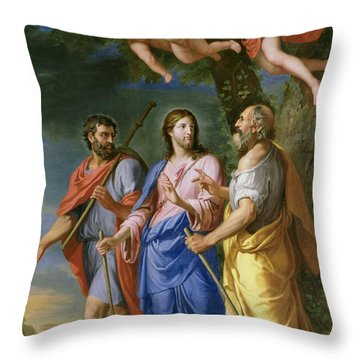 Christ On The Road To Emmaus Oil On Canvas Throw Pillow