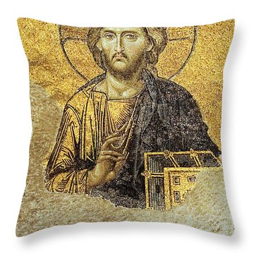 Throw Pillow featuring the photograph Christ Pantocrator-detail Of Deesis Mosaic Hagia Sophia-judgement Day by Urft Valley Art