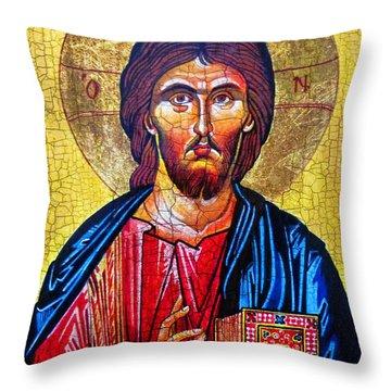 Christ The Pantocrator Icon Throw Pillow by Ryszard Sleczka