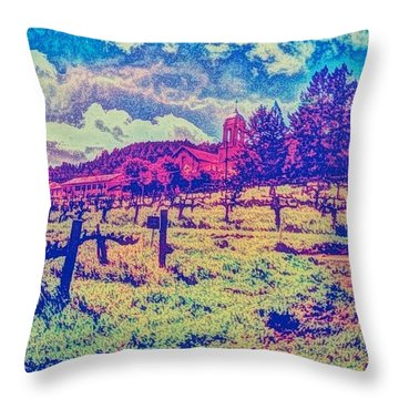 Christian Brothers Winery - Napa, Ca Throw Pillow by Anna Porter
