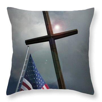 Christian Cross And Us Flag Throw Pillow