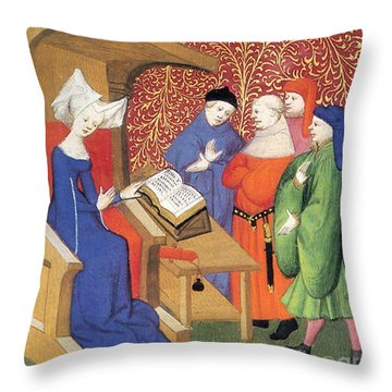 Christine De Pizan Lecturing To Men Throw Pillow by Photo Researchers