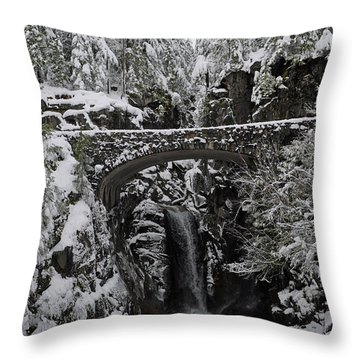 Throw Pillow featuring the photograph Christine Falls In The Winter by Tikvah's Hope