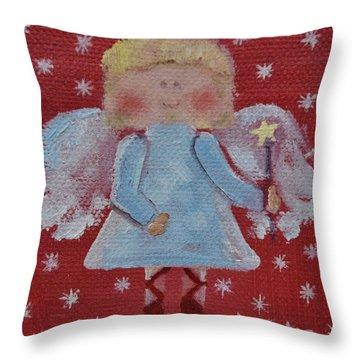 Christmas Angel Throw Pillow by Donna Tuten