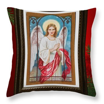 Christmas Angel Art Prints Or Cards Throw Pillow by Valerie Garner