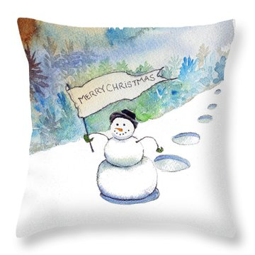 Christmas Announcement Throw Pillow by Katherine Miller