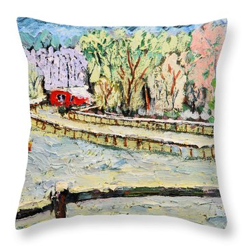 Christmas At Cissy's Farm Throw Pillow