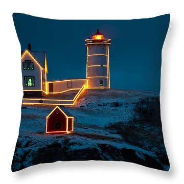 Christmas At Nubble Light Throw Pillow