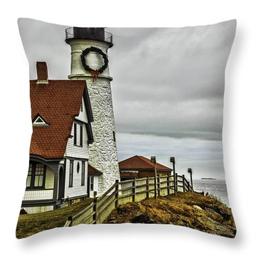 Christmas At Portland Head Light Throw Pillow