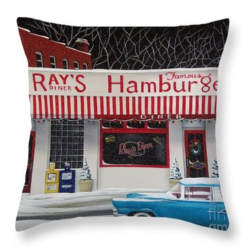 Christmas At Ray's Diner Throw Pillow by Catherine Holman