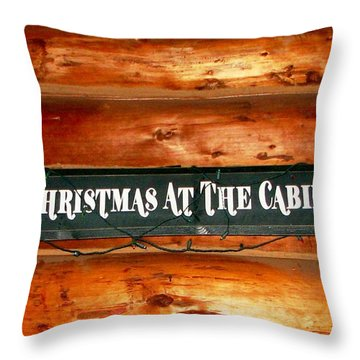 Christmas At The Cabin Throw Pillow by Judyann Matthews