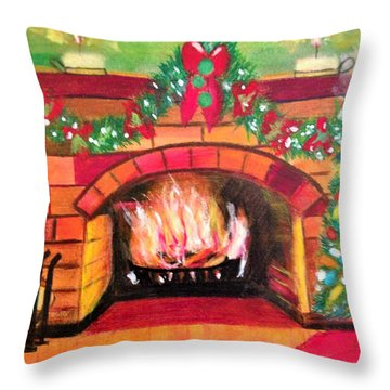 Christmas At The Cabin Throw Pillow