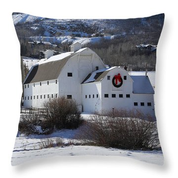 Christmas At The Farm Throw Pillow