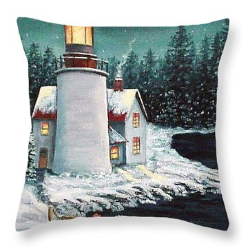 Christmas At The Light Throw Pillow