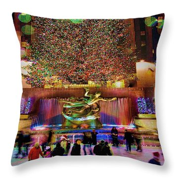Throw Pillow featuring the photograph Christmas At The Rock by Chris Lord