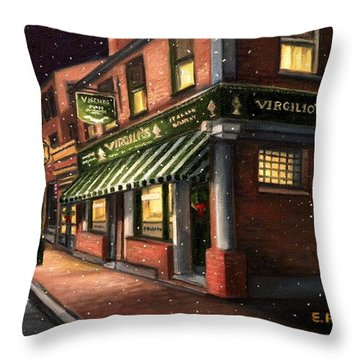 Christmas At Virgilios Throw Pillow by Eileen Patten Oliver