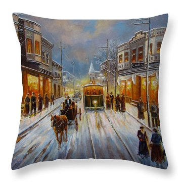 Christmas Atmosphere In A Small Town America In 1900 Throw Pillow by Regina Femrite