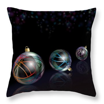 Christmas Baubles Reflected Throw Pillow by Jane Rix