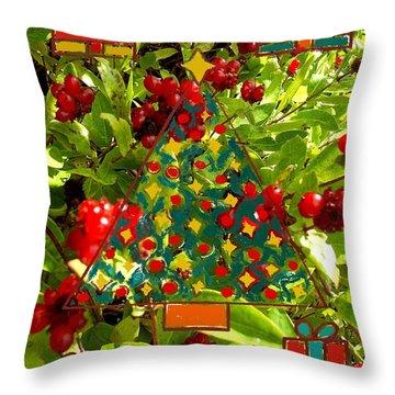 Christmas Berries Throw Pillow by Patrick J Murphy