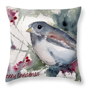 Throw Pillow featuring the painting Christmas Birds 01 by Anne Duke