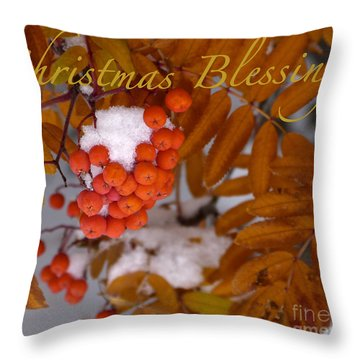 Christmas Blessings Card Throw Pillow by Vi Brown