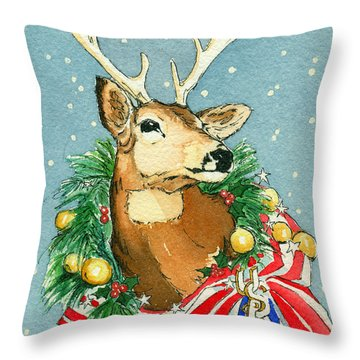 Christmas Buck Throw Pillow by Katherine Miller