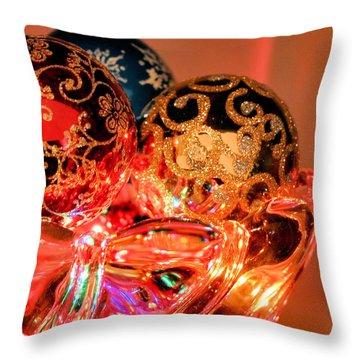 Christmas Bulbs Throw Pillow by Kristin Elmquist