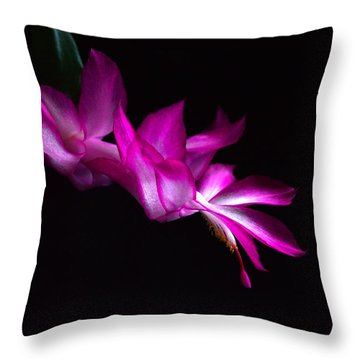 Christmas Cactus Blossom Throw Pillow