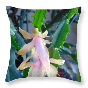 Christmas Cactus Flower Plant Throw Pillow