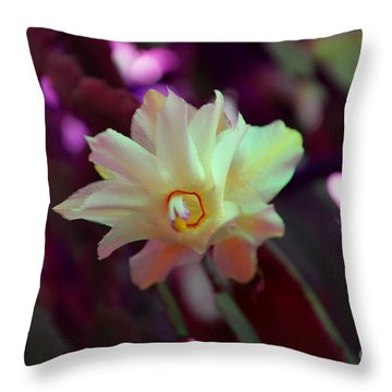 Throw Pillow featuring the photograph Christmas Cactus Flower by Ramona Matei