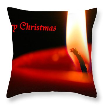Christmas Candle Throw Pillow