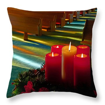 Christmas Candles At Church Art Prints Throw Pillow by Valerie Garner