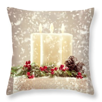 Christmas Candles Throw Pillow by Amanda Elwell