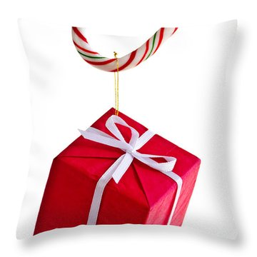 Christmas Candy Cane And Present Throw Pillow by Elena Elisseeva