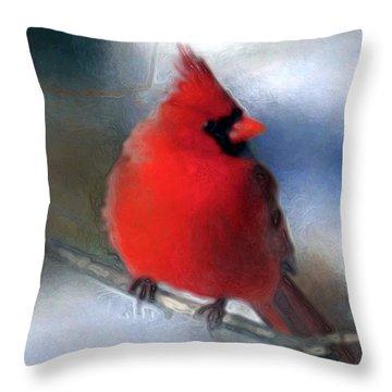 Christmas Card - Cardinal Throw Pillow