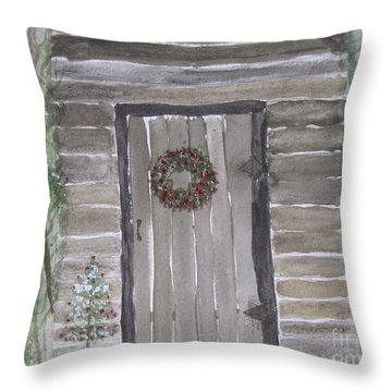 Christmas Card No.3 Rustic Cabin Throw Pillow