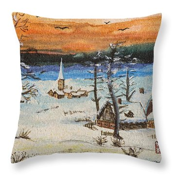Throw Pillow featuring the painting Christmas Card Painting by Peter v Quenter