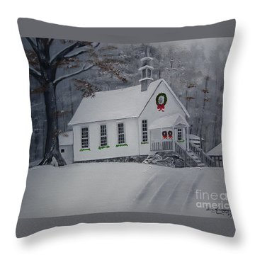 Christmas Card - Snow - Gates Chapel Throw Pillow