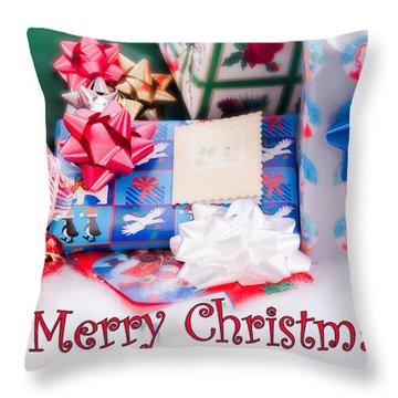 Throw Pillow featuring the photograph Christmas Presents On Artificial Snow by Vizual Studio