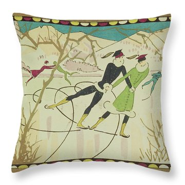 Christmas Card With Figure Skaters Throw Pillow