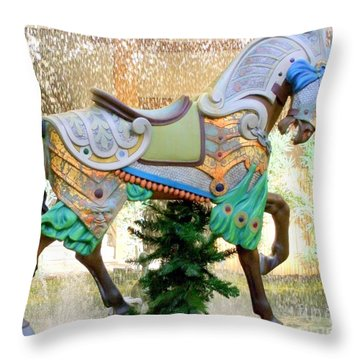Christmas Carousel Warrior Horse-1 Throw Pillow by Mary Deal