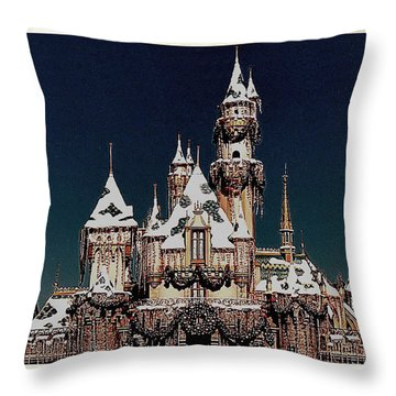 Christmas Castle Throw Pillow by Nadalyn Larsen